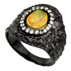 925 silver 2.11cts rhodium natural ethiopian opal 14k gold ring size 7 r14152