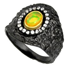 2.07cts rhodium natural ethiopian opal 925 silver 14k gold ring size 8.5 r14153