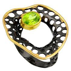 2.36cts rhodium natural green peridot 925 silver 14k gold ring size 8.5 r14154