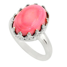 6.83cts natural pink queen conch shell 925 silver solitaire ring size 7 r14225