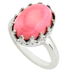 6.48cts natural pink queen conch shell 925 silver solitaire ring size 8 r14227