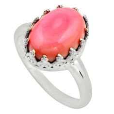 6.40cts natural pink queen conch shell 925 silver solitaire ring size 7 r14231
