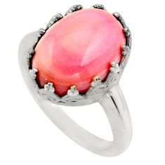 6.26cts natural pink queen conch shell 925 silver solitaire ring size 7 r14237