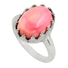 6.16cts natural pink queen conch shell 925 silver solitaire ring size 9 r14238