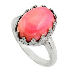 925 silver 6.48cts natural pink queen conch shell solitaire ring size 9 r14239