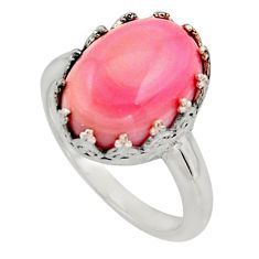 6.26cts natural pink queen conch shell 925 silver solitaire ring size 8 r14240