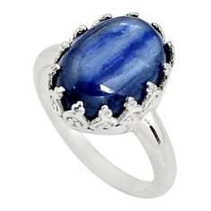 6.63cts natural blue kyanite 925 sterling silver solitaire ring size 8 r14241