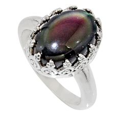 6.46cts natural rainbow obsidian eye 925 silver solitaire ring size 7 r14254