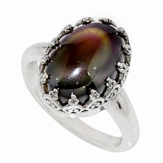 925 silver 6.03cts natural rainbow obsidian eye solitaire ring size 7 r14256
