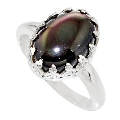 6.03cts natural rainbow obsidian eye 925 silver solitaire ring size 9 r14257