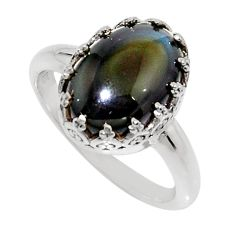 6.48cts natural rainbow obsidian eye 925 silver solitaire ring size 9 r14258