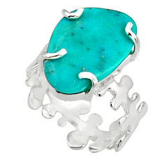 6.80cts blue sleeping beauty turquoise 925 sterling silver ring size 6.5 r14280
