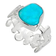 5.17cts blue sleeping beauty turquoise 925 sterling silver ring size 8.5 r14283