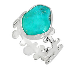 5.54cts blue sleeping beauty turquoise 925 sterling silver ring size 7.5 r14285