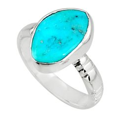 5.54cts blue sleeping beauty turquoise 925 sterling silver ring size 6.5 r14286