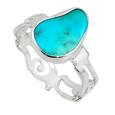4.89cts blue sleeping beauty turquoise 925 sterling silver ring size 8 r14287