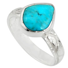 4.43cts blue sleeping beauty turquoise 925 sterling silver ring size 7 r14289