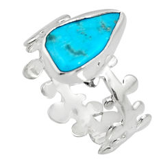 4.75cts blue sleeping beauty turquoise 925 sterling silver ring size 8.5 r14295