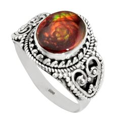 5.42cts natural mexican fire opal 925 silver solitaire ring size 11.5 r14474