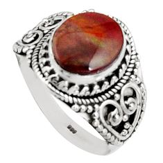 4.82cts natural mexican fire opal 925 silver solitaire ring size 10.5 r14476