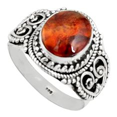 925 silver 5.01cts natural mexican fire opal solitaire ring size 11.5 r14478