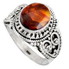 5.01cts natural mexican fire opal 925 silver solitaire ring size 11 r14479