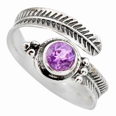 1.11cts natural purple amethyst 925 silver adjustable ring size 9 r14561