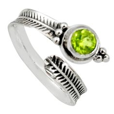 1.04cts natural green peridot round 925 silver adjustable ring size 9.5 r14566