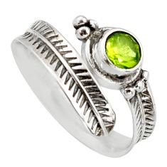 2.93cts natural green peridot 925 sterling silver adjustable ring size 7 r14568