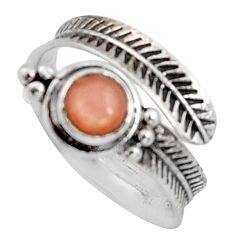 1.04cts natural pink moonstone 925 sterling silver adjustable ring size 7 r14572