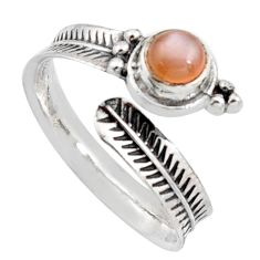 925 silver 1.09cts natural pink moonstone round adjustable ring size 10 r14573