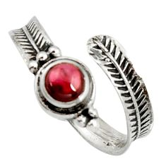 1.11cts natural red garnet 925 sterling silver adjustable ring size 9 r14574