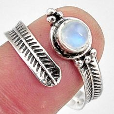 925 silver 1.04cts natural rainbow moonstone adjustable ring size 9 r14577