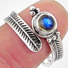 1.04cts natural blue labradorite 925 silver adjustable ring size 9 r14579
