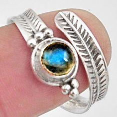 925 silver 1.04cts natural blue labradorite adjustable ring size 8.5 r14580