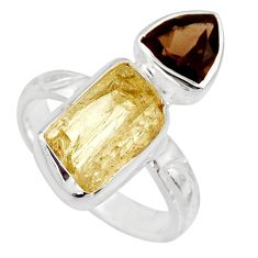 10.78cts scapolite smoky topaz 925 sterling silver ring jewelry size 8 r14975