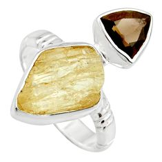 11.66cts scapolite smoky topaz 925 sterling silver ring jewelry size 8 r14976