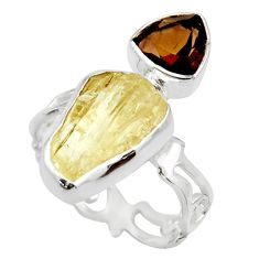 925 sterling silver 10.76cts scapolite smoky topaz ring jewelry size 7.5 r14980