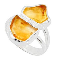 10.71cts yellow citrine rough 925 silver solitaire ring jewelry size 7 r14983