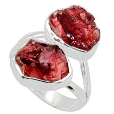 12.83cts natural red garnet rough 925 silver solitaire ring size 7 r14993
