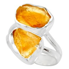 10.76cts yellow citrine rough 925 silver solitaire ring jewelry size 6 r15002