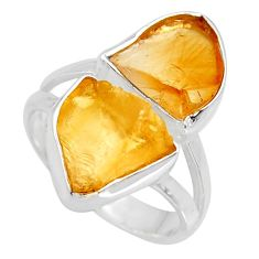 11.57cts yellow citrine rough 925 silver solitaire ring jewelry size 7 r15003