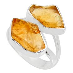 925 silver 12.06cts yellow citrine rough solitaire ring jewelry size 7 r15004