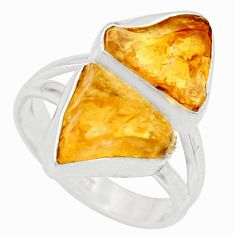 11.57cts yellow citrine rough 925 silver solitaire ring jewelry size 7 r15021
