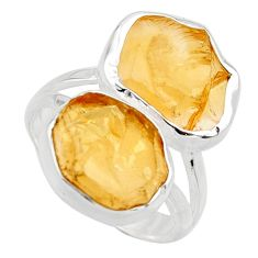12.52cts yellow citrine rough 925 silver solitaire ring jewelry size 8 r15023
