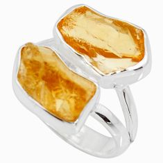 11.07cts yellow citrine rough 925 silver solitaire ring jewelry size 7 r15041