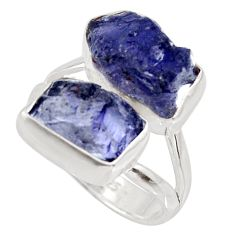 925 silver 10.78cts natural blue iolite rough fancy solitaire ring size 7 r15044