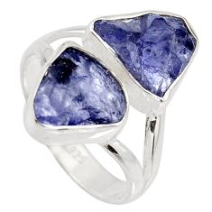 925 silver 9.98cts natural blue iolite rough fancy solitaire ring size 8 r15049