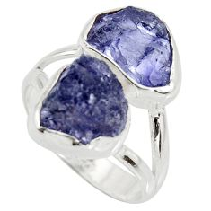 11.07cts natural blue iolite rough 925 silver solitaire ring size 8 r15053