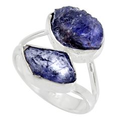 11.07cts natural blue iolite rough 925 silver solitaire ring size 8 r15059